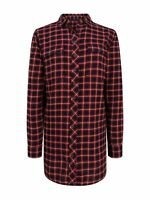 New Ex Fat Face Ladies Long Checked Shirt Size 8 - 16 Casual Blue & Red