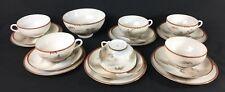 Antique Japanese Meiji Period Kutani Scenic Porcelain Teacup Bread Plate Set