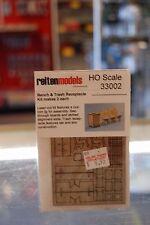 HO Reiten Models RMH33002 -Bench & Trash Receptacle wood laser-cut kit * NIB