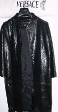 $7800 GIANNI VERSACE BLACK LEATHER COAT SIZE 42-US 8 MADE IN ITALY