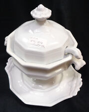 J Heath 4 pc Tureen w Lid Ladle Underplate Platter Ironstone China Lion White