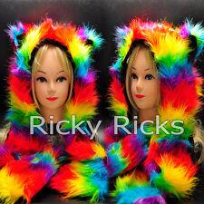 Rave Animal Hood Husky Rainbow Hoodie Hat Ear Warm Scarf Monster Scoodie