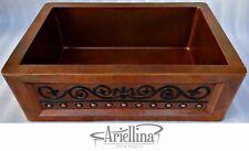 "36"" Ariellina Farmhouse 14 Gauge Copper Kitchen Sink Lifetime Warranty AC1922 T"