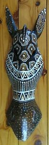 Zebra head face abstract wood carving Wall hanging ornament decoration 50cm