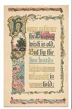 Vintage Postcard Old Arts & Crafts Birthday Poem Gold Art Embossed