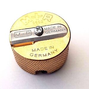 Solid Metal Brass Pencil Sharpener Round Double Hole Germany Made Proffesional