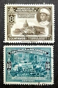 Nicaragua 1940 For Domestic Postage President Somoza & US Capitol - 2v Used