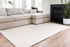 Rug 100% Natural Jute Braided White Floor Mat Handmade Rug Rustic Look Area Rug