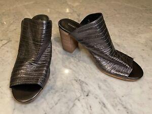 Django & Juliette Platinum Leather Slip On Mule Heel Shoes Size/Fit EU 40 AU 9