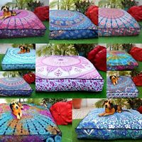 Bohemian Indian Mandala Large Square Floor Pouf Pillow Sofa Throw Cushion Cover