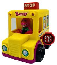 Vintage 1994 Barney the Dinosaur Push N Go School Bus Lyons Group Toy Car