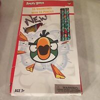 Angry Birds Valentines 16 Cards & 16 Pencils 2015 New Other