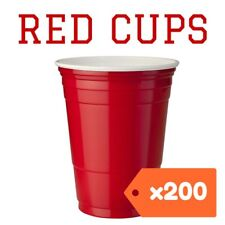 200 American Red Party Cups Plastic beer solo supplies pong 425ml USA frat