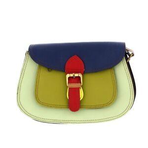Soruka Recycled Leather Mini Saddle Satchel Handbag Green/Blue