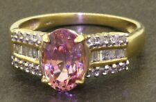 14K gold 2.87CT diamond/9.5 X 6.5mm Hot Pink Natural Spinel cocktail ring size 7