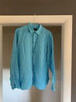 Giorgio Armani Light Blue Linen Shirt Size 17 Retail $590