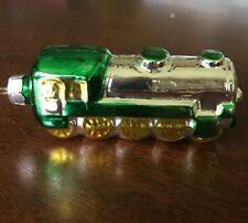 Mercury Glass Locomotive Train Ornament Green Yellow Silver