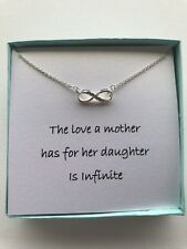 Small infinity Zircon Pendant Mother Daughter Silver Necklace w/ love poem/Gift