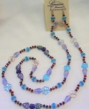 "30"" HAND KNOTTED COLORFUL FLOWERS & LEAVES GLASS BEADED NECKLACE & EARRING SET"