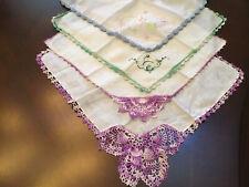 Vtg 1950s 4 Finest Crocheted Embroidered Butterfly Handkerchiefs Hankies Hanky