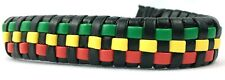 Rasta Red Green Yellow Woven Sim Leather Bracelet Anklet Adjustable Jamaica