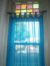 Bali Natural Cotton Coloured Tab Curtains (Pair) Aqua Coconut Buttons