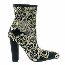 Madam13 Black Heel w Elastic Sock Floral Lace Ankle Bootie w Pointed Toe