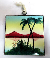 Ceramic Tile Art Trivet HandPainted Vintage Palm Tree SeaScape Metal Back Mexico