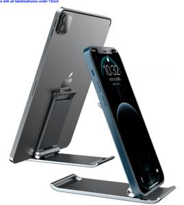 Mobile Phone Stand - Foldable Metal Smartphone Holder for Office Desk, Tablet