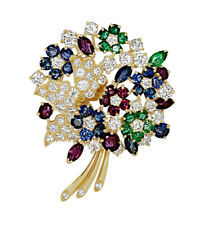 2.62ct NATURAL DIAMOND RUBY EMERALD SAPPHIRE 14K SOLIDYELLOW GOLD WEDDING BROOCH