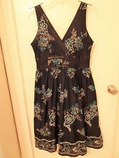 Signature by Robbie Bee Ladies Size 12 Black Embroidered Lined Dress