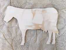 Vermont Outsider Painted Art Cow Wood Cutout Hanging Signed