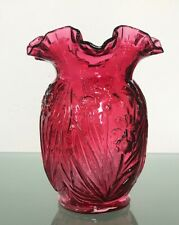 """Vintage Fenton Cranberry Art Glass Daffodil Floral Ruffled Fluted Vase 8 tall"""""""