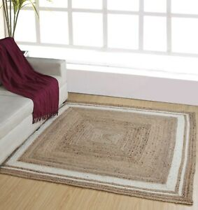 KHIDAKEE Braided Square Rug Jute with Cream Border Small Medium Large