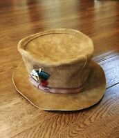 Vtg WINFIELD COVER CO #4 Large Brown Suede Leather Hat Rock Tom Petty Cosplay