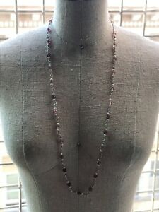 "Sterling Silver .925 Pink Tourmaline Seed Pearl Necklace 16"" Wire Wrap"