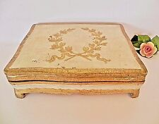 Large Italian Florentine Gold Gilt Footed Wooden Jewelry Trinket Box Italy Vtg