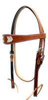 D.A. Brand Quick Change Medium Oil Brow Band Headstall Rawhide Trim Horse Tack