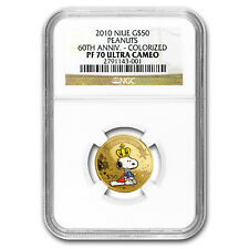 2010 Niue Gold $50 Peanuts 60th Anniv PF-70 NGC (Colorized)