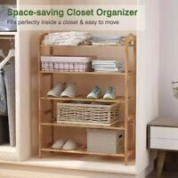 5 Tier Layers Bamboo Shoe Rack Storage Organizer Wood Decor Stand Plant Shelves