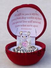 ANNIVERSARY DAY PREMIUM EDITION CRYSTAL TEDDY BEAR PINK HEART AND POEM GIFT TAG