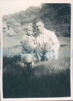 """1952 photo Father and son Brew cup of tea on camp fire Longleat  3.5x2.5"""""""