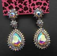 Betsey Johnson AB Crystal Rhinestone Flower Teardrop Stud Drop Earrings