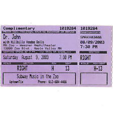 DR JOHN Concert Ticket Stub APPLE VALLEY MN 8/9/03 ZOO AMPHITHEATRE SUCH A NIGHT