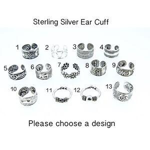 Sterling Silver Ear Cuff Huggy Bali Fake Earring Septum Tragus Body Jewellery