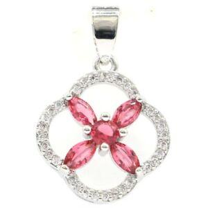 Fancy Pink Raspberry Rhodolite Garnet CZ Ladies Silver Pendant