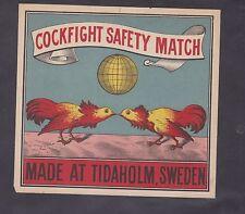 Ancienne   grande étiquette  Allumettes Suède BN22236 Combat de coq