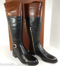 Coach Micha Black Chestnut Calf Leather Zip Tall Boots Womens 6 NEW IN BOX