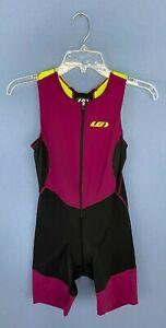 Louis Garneau Womens Com Tri Competition Suit Black/Purple Size Medium -