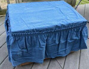 NEW SURE FIT indigo blue jean cotton denim Ottoman Cover washable 2 pc stock b